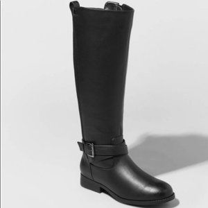 a. new day Wendy Faux Leather Buckle Riding Boots